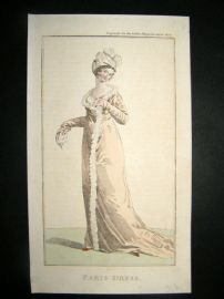 Lady's Magazine 1802 H/Col Regency Fashion Print. Paris Dress 14